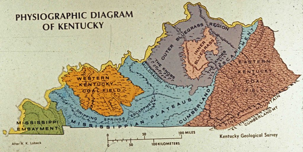 Photograph of map of Physiographic Diagram of Kentucky