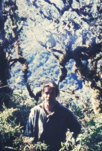 Photograph of Richard in elfin forest, Bolivia, 1995